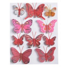 Motylki na klipie 10szt..4-7,5 cm RED