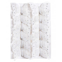 Motyl z brokatem 8cm na klipie (12szt/kpl)