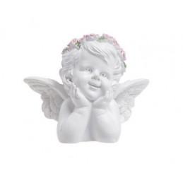 Aniołek z różowym wiankiem popiersie..7,5 cm