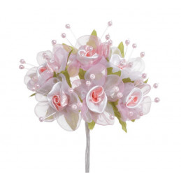 Mini różyczki 6szt/pęczek WHITE/PINK..13 cm - dekoracja ślubna / komunijna