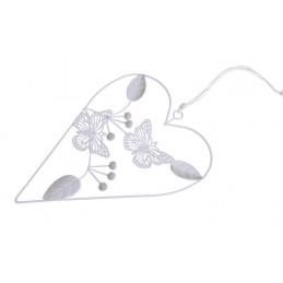 Zawieszka ażurowa serce z motylkami 18 cm - artykuł dekoracyjny