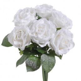 Róża duża ośnieżona x 6 28 cm