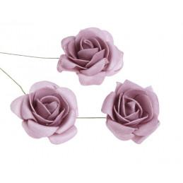 Główki róż piankowych na druciku 6 cm 8szt/paczka