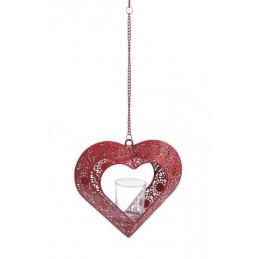 Latarnia serce 19x7x18cm RED