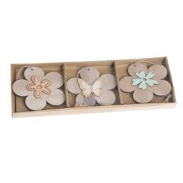 Kwiatki drewniane 3szt-pacz 7cm