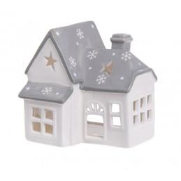 Domek ceramiczny  szkliwiony - lampion 12,2 cm