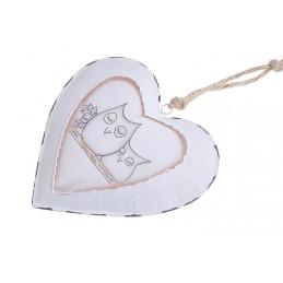 Serce zawieszka 16 cm z motywem sowy - metal
