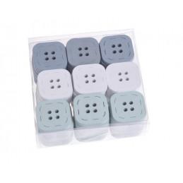 Kwadratowe guziki, zestaw 54szt 3 cm