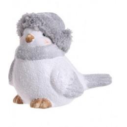 Ptak ceramiczny w czapce i szaliku 15 cm