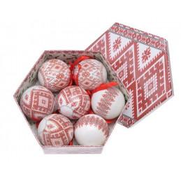 Bombki w pudełku 7cm, 7szt/komplet  - etno WH/RED