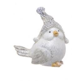 Ptaszek w czapie 8 cm - figurka ceramiczna