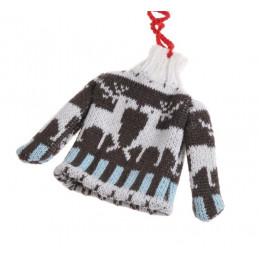 Sweterek w renifery 12 cm - zawieszka choinkowa