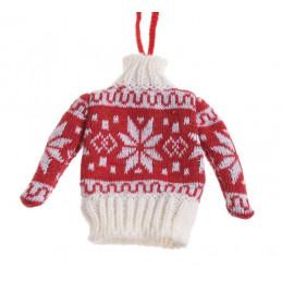 Zimowy sweterek 12 cm - zawieszka choinkowa