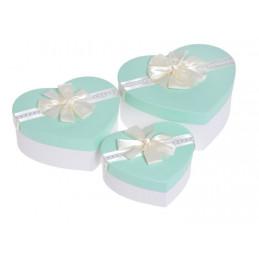 Pudełko serce 3szt-kpl WHITE/MINT, MINT/WHITE