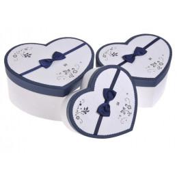 Pudełko serce 3szt-kpl WHITE/BLUE, BLUE/WHITE