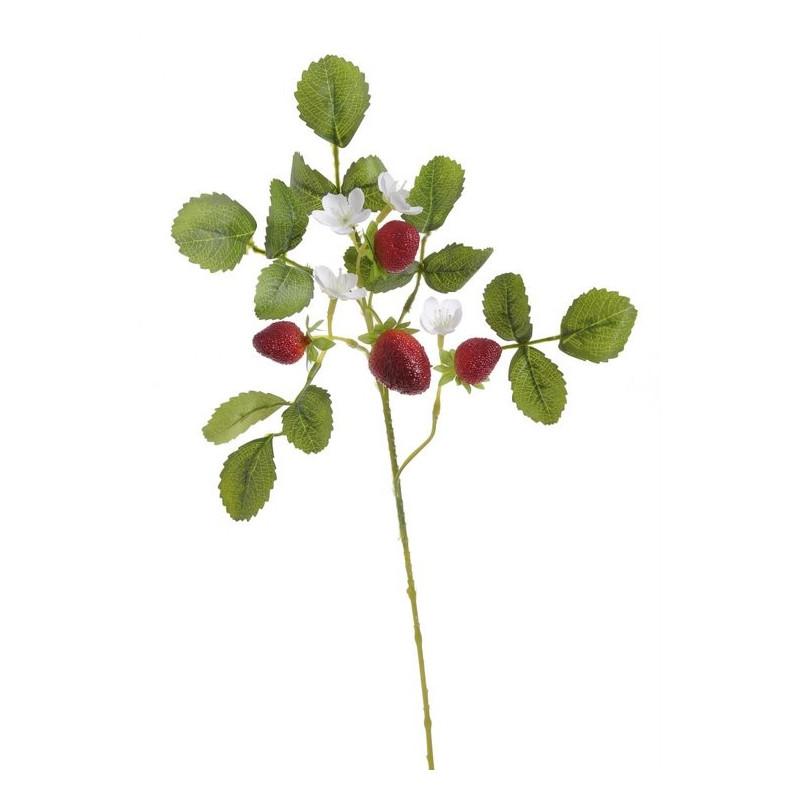 Gałązka truskawki 51 cm - sztuczna roślina
