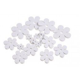 Kwiatki białe mix 7-2,5 cm, 18szt-paczka