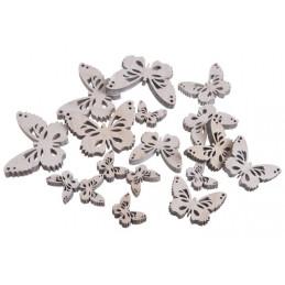 Motylki biało-szare mix 6,5-3 cm, 18 szt-paczka