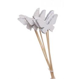 Pik motylki biało-szare 30-6 cm, 6szt-paczka