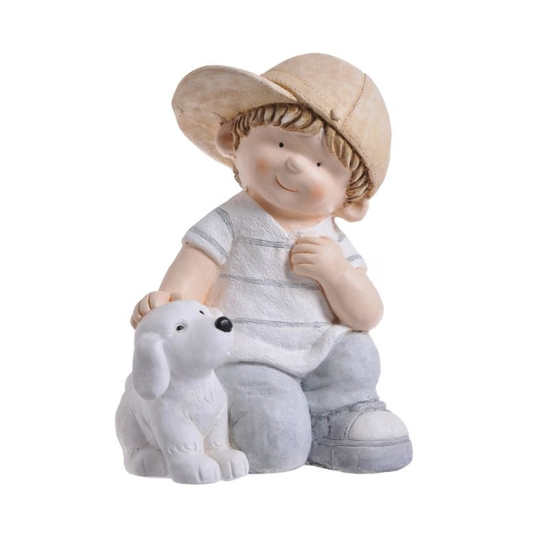Bejsbolista z psem 35 cm - ceramika