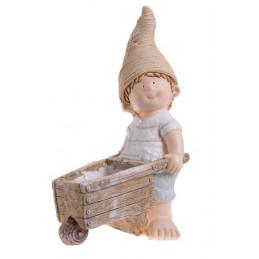 Chłopiec z taczką 52 cm - ceramika