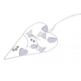 Zawieszka ażurowe  serce z ptaszkami 16,5 cm