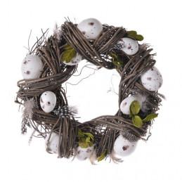 Wianek z jajkami 24 cm BROWN/WHITE - dekoracja wiosenna