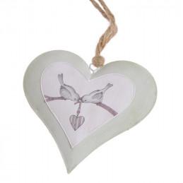 Zawieszka serce z ptaszkami na gałęzi 13 cm