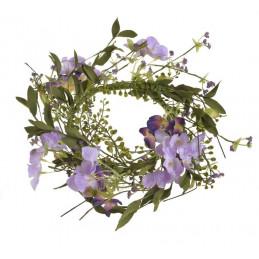 Wianek sztuczne kwiatki 30 cm - dekoracja wiosenna
