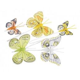 Motyl mix 8 cm - 5 cm na druciku 5szt-kp