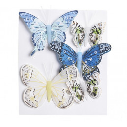 Motyl mix 8 cm - 5 cm na klipie 5szt/kpl