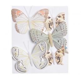 Motyl mix 8 cm-5 cm na klipie 5szt/kpl CR-YEL