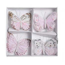 Motyl 8 cm na klipie 8 szt/kpl PINK+LILAC