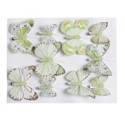 Motyl mix 8 cm - 5 cm na klipie 10 szt/kpl GREEN