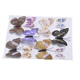 Motyl mix 8 cm-5 cm na klipie - krt 10 szt