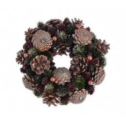 Wianek szyszki 26 cm GREEN-BROWN - artykuł dekoracyjny