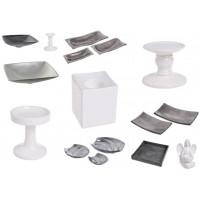 Ceramiczne wazony, patery, figurki akrylowe i ceramiczne, świeczniki itp.